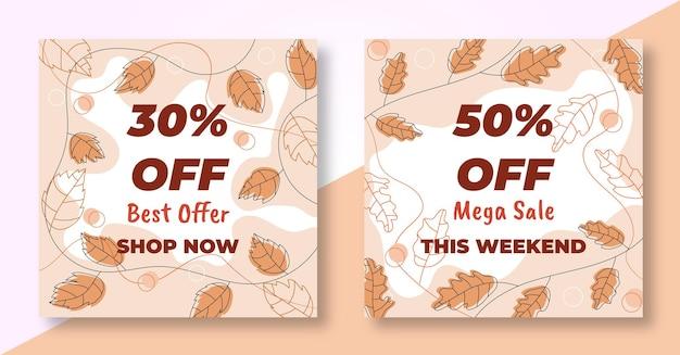 Collection de flyers de bannière de publication de vente d'automne de médias sociaux avec des feuilles d'automne dessinées à la main