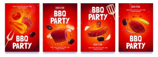 Collection de flyers de fête de barbecue de dessin animé