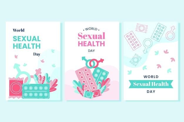 Collection de flyers pour la journée mondiale de la santé sexuelle