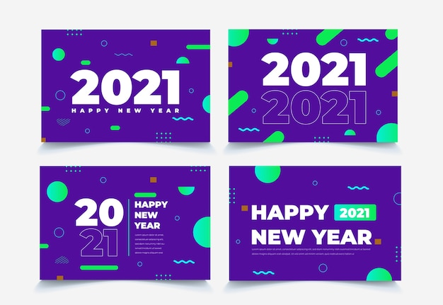 Collection de fond abstrait géométrique nouvel an 2021