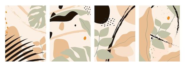 Collection de fond abstrait ou de toile de fond avec des feuilles tropicales de couleur pastel à la mode