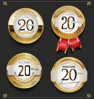 Collection de fond d'anniversaire d'or élégant