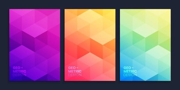Collection de fond dégradé géométrique avec des cubes