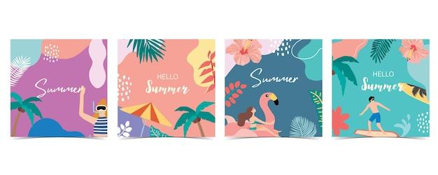 Collection de fond d'été sertie de palmiers et cocotiersseaabeachbonjour l'été