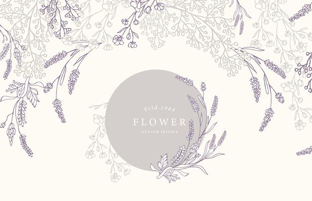 Collection de fond de fleurs sertie de lavande