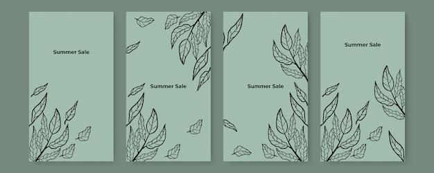 Collection de fond floral de couvertures de feuilles tropicales abstraites