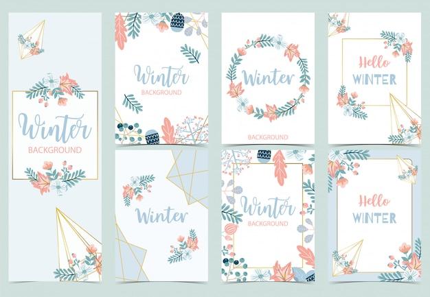 Collection de fond d'hiver sertie d'oiseaux, de fleurs, de feuilles.