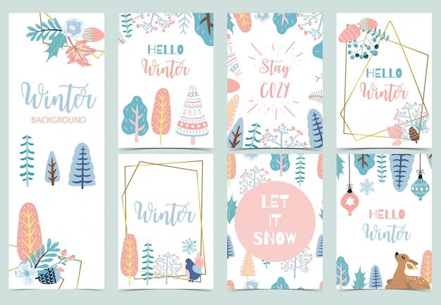 Collection de fond d'hiver sertie de rennes, oiseaux, fleurs, feuilles.