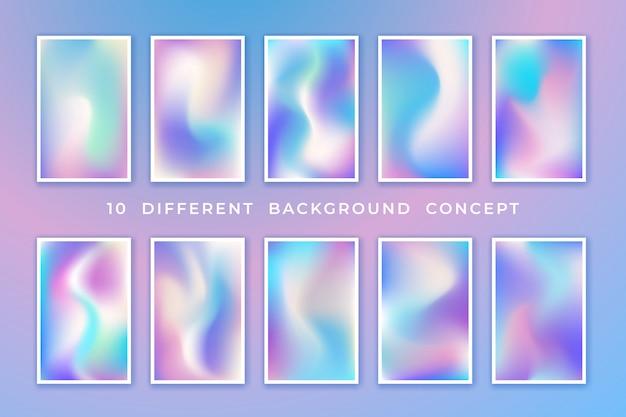 Collection de fond holographique pastel à la mode avec un concept différent.