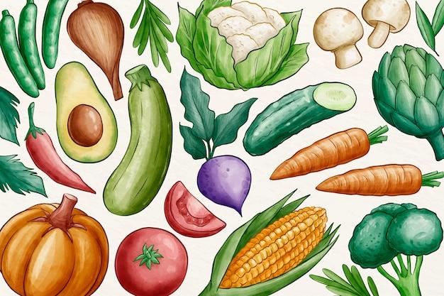 Collection de fond de légumes