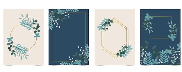 Collection de fond naturel serti de feuilles géométriques