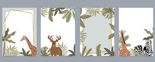Collection de fond safari avec girafe, illustration zebra.vector pour l'invitation d'anniversaire, carte postale