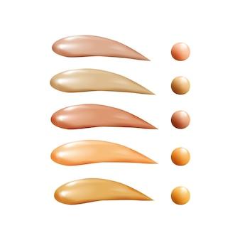 Collection de fond de teint liquide, traits de frottis anti-cernes osmétiques, crème tonique tachée de texture isolée sur fond blanc.