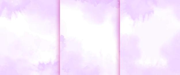Collection de fond violet aquarelle peinte à la main
