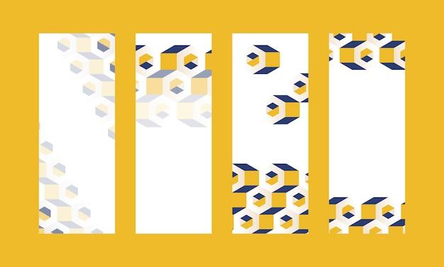 Collection de fonds de motifs hexagonaux 3d