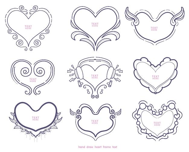 Collection de forme de coeurs dessinés à la main
