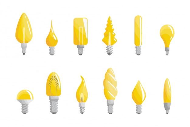 Collection de forme de lampe lumineuse créative. concept de pensée efficace. icône d'ampoule avec idée d'innovation. concept d'illustration d'entreprise