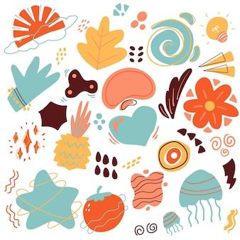 Collection de formes abstraites colorées dessinées à la main