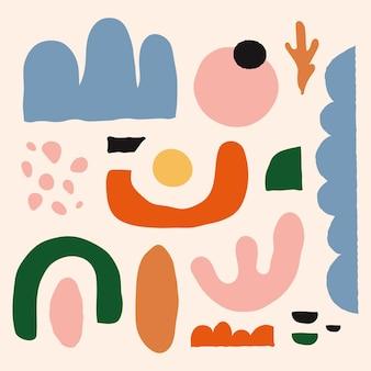 Collection de formes abstraites design plat dessinés à la main