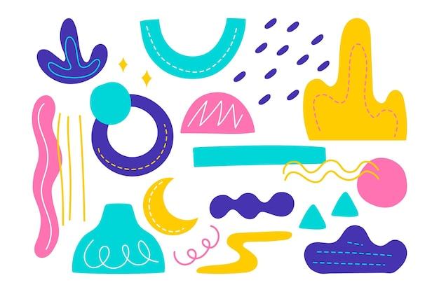 Collection de formes abstraites dessinées à la main colorée