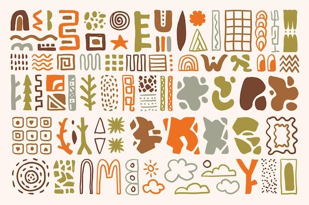 Collection De Formes Abstraites Dessinées à La Main Vecteur gratuit