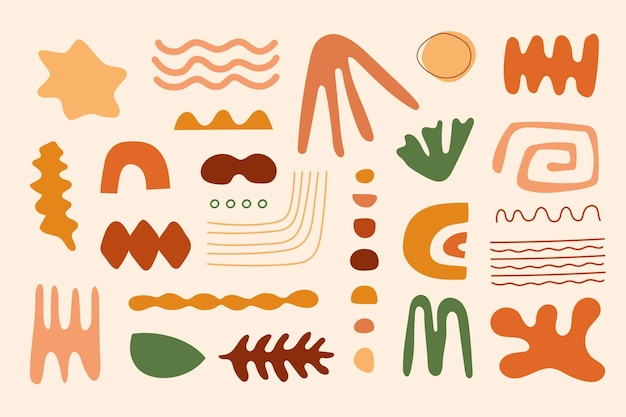Collection de formes abstraites plates dessinées à la main