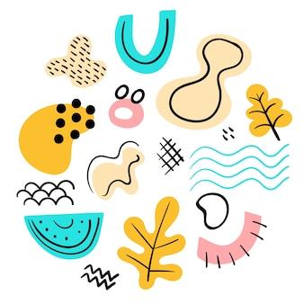 Collection de formes colorées abstraites dessinées à la main