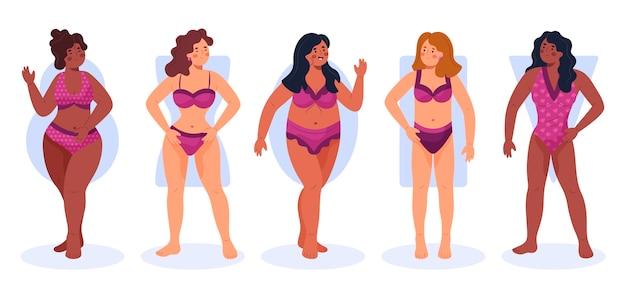 Collection de formes de corps féminins dessinés à la main
