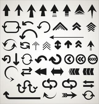 Collection de formes de flèches isolées sur fond gris