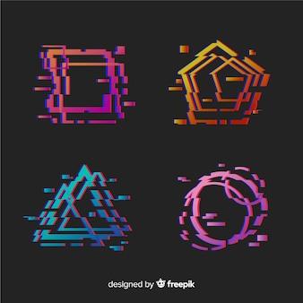 Collection de formes géométriques glitch