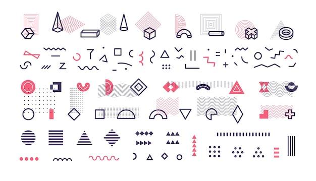 Collection de formes géométriques pour le motif et l'arrière-plan, illustration vectorielle
