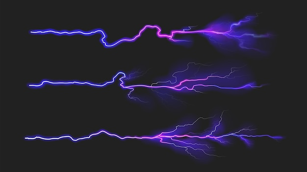 La collection de foudre thunderbolt définit le fond de vecteur d'effet de puissance