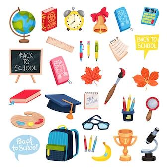Collection de fournitures scolaires isolée sur blanc