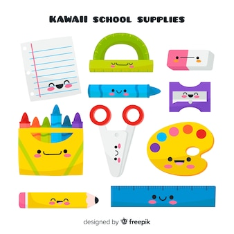 Collection de fournitures scolaires kawaii dessinées à la main