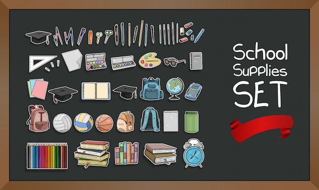 Collection de fournitures scolaires