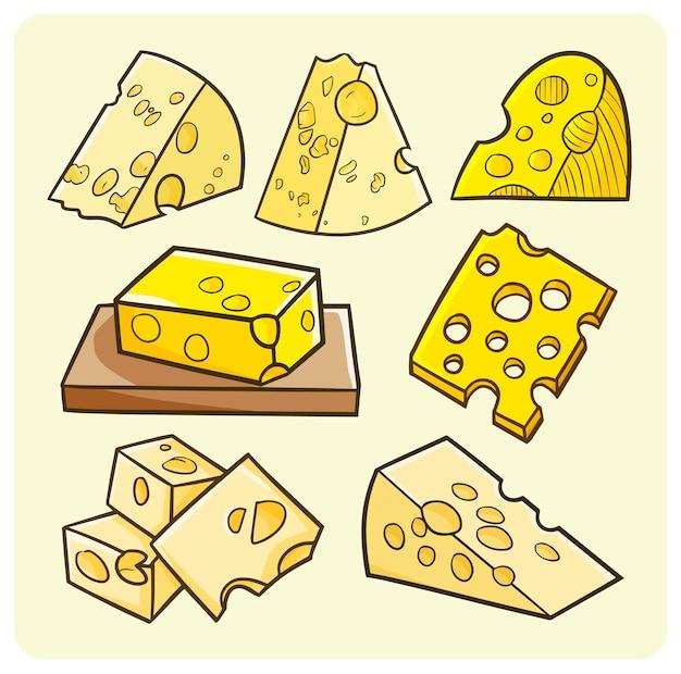 Collection de fromages drôle dans un style simple
