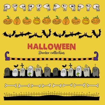 Collection de frontière dessinée par halloween