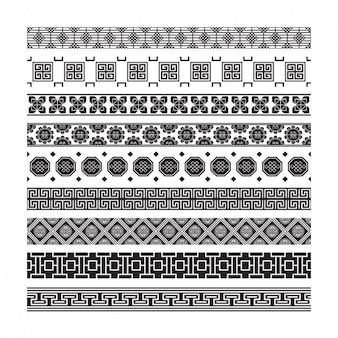 Collection de la frontière géométrique en noir et blanc