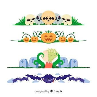 Collection de frontière halloween dessinée à la main sur une surface blanche