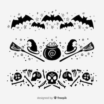 Collection de frontière halloween dessinée à la main