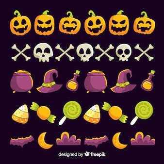 Collection de frontière halloween dessinés à la main avec des bonbons et de la sorcellerie