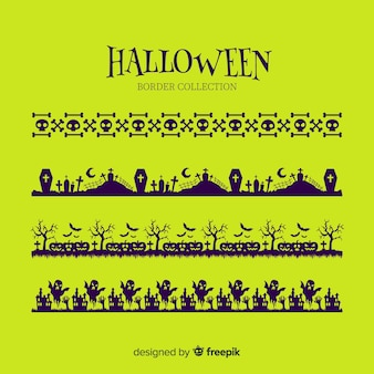 Collection de frontière plat halloween sur fond vert