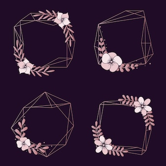 Collection de frontières de mariage floral