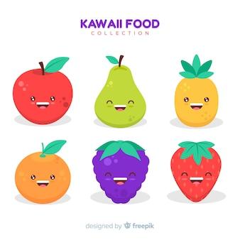 Collection de fruits adorables dessinés à la main