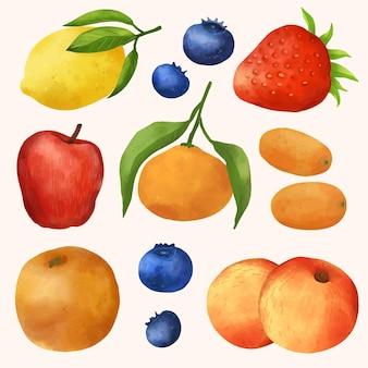 Collection de fruits aquarelle peinte à la main