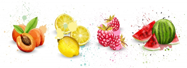 Collection de fruits aquarelle