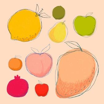 Collection de fruits d'art doodle mignon