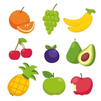 Collection De Fruits De Couleur Vecteur gratuit