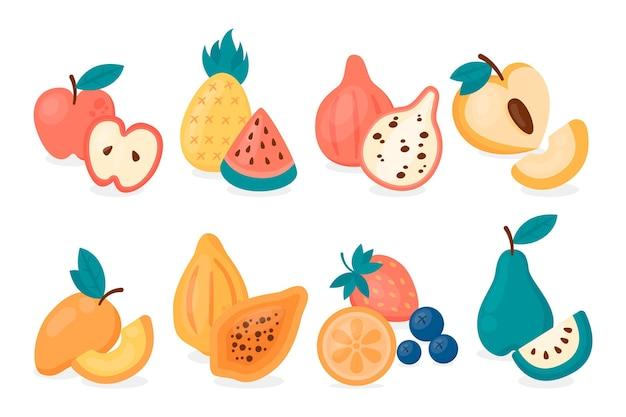 Collection de fruits délicieux illustration plate