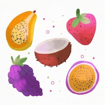 Collection de fruits délicieux peints à la main